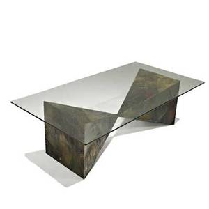 Paul evans directional sculptural coffee table usa 1970s welded and polychromed steel glass unmarked overall 15 12 x 49 12 x 26