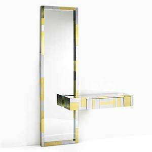 Paul evans directional cityscape mirror and console usa 1970s chromed steel brass unmarked 72 x 48 x 12