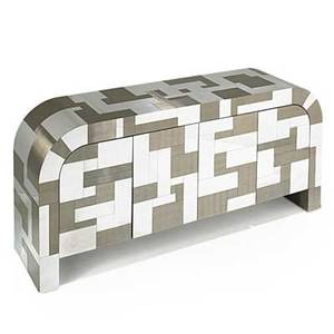 Paul evans directional cityscape credenza usa 1970s patinated and chromed steel signed 32 x 72 x 18