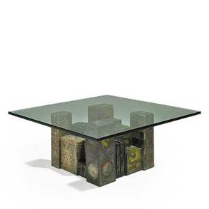 Paul evans paul evans studio skyline coffee table new hope pa 1970 welded and polychromed steel bronze composite glass welded signature and date 16 x 42 sq