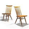 George nakashima nakashima studios pair of new chairs new hope pa 1967 walnut hickory signed with clients name 36 x 19 x 21 12 provenance available copy of original receipt