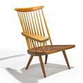 George nakashima nakashima studios lounge chair one arm new hope pa 1963 cherry hickory signed with clients name 32 12 x 29 12 x 27 provenance available copy of original receipt