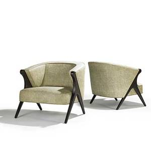Maurice bailey monteverdi young pair of lounge chairs usa 1960s stained and lacquered mahogany leather unmarked 33 x 28 x 31
