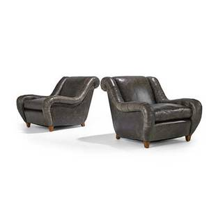 James mont james mont design pair of club chairs usa 1960s oak distressed leather unmarked 30 x 32 x 42 12