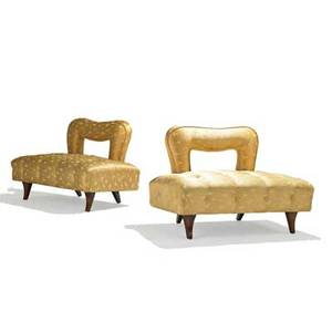 James mont james mont design pair of openback tufted lounge chairs new york 1950s mahogany silk unmarked 27 x 38 x 26