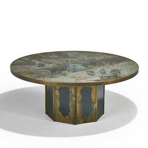 Philip and kelvin laverne chan coffee table new york 1960s etched patinated and enameled bronze pewter raised signature 18 x 42 dia
