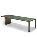 Philip and kelvin laverne coffee table new york 1960s etched patinated and enameled bronze pewter incised signature 17 14 x 68 x 23