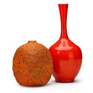 Polia pillin 1909  1992 two vases volcanic orange glaze and glossy orange glaze los angeles ca both signed taller 11 x 5