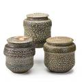 Karen karnes b 1925 three saltglazed stoneware covered vessels stony point ny 1970s all with chopmark kk largest 8 x 6 34