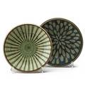 Harrison mcintosh b1914 two glazed stoneware bowls claremont ca both with chopmark and paper label 3 14 x 10 dia 2 14 x 9 34 dia