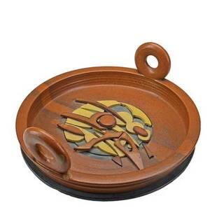 Val cushing b 1931 fine and large handbuilt glazed stoneware shard platter alfred ny 1987 signed and dated 7 x 19
