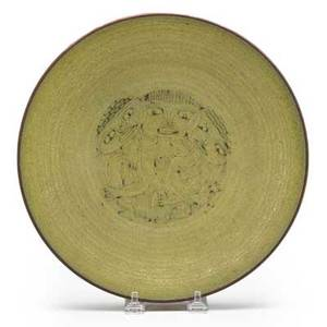 Edwin and mary scheier low glazed ceramic bowl with figures new hampshire 1960s incised scheier 2 12 x 10 14 dia