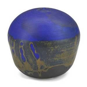 Toshiko takaezu 19222011 porcelain moonpot with rattle cobalt glaze clifton nj incised tt 7 x 6 12