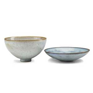 Otto and gertrud natzler two small glazed earthenware bowls los angeles ca 1940s both signed g  o natzler one penciled 1948 taller 2 14 x 4 14