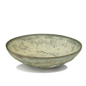 Otto and gertrud natzler early earthenware bowl in sea foam blue volcanic glaze los angeles ca1940s signed g  o natzler 1 12 x 5 12