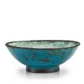 Maija grotell 18991973 large earthenware footed bowl in persian blue gunmetal and white crackled glaze cranbrook mi 1940s incised mg with cranbrook stamp ca paper label 4 34 x 12 12 di