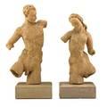 Waylande gregory 1905  1971 pair of figural sculptures usa 1950s bisquefired earthenware wood bases female figure signed waylande gregory taller 12 34 x 6 x 5