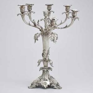 Elkington mason  co silver plate candelabra monumental acanthus and blossom seven light centerpiece 19th c 26 12 x 21