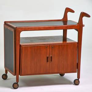 Arne hovmandolsen bar cart denmark 1960s teak laminate unmarked open 35 x 56 12 x 20 closed 35 x 35 12 x 20