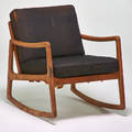 Style of ole wanscher rocking chair denmark 1960s sculpted teak upholstery unmarked 30 x 26 12 x 31