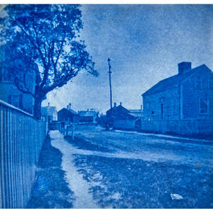 Arthur wesley dow american 18571922 cyanotype street in nantucket town framed signed and titled 3 14 x 3 38 sheet