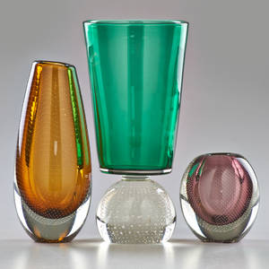 Gunnel nyman nuutajarvinotsjo etc two cased glass vases with controlled bubble decoration finland ca 1950s with similar vase on controlled bubble base nymun marked tallest 10 12 x 5 dia