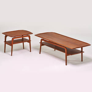 Arne hovmand olsen mogens kold coffee table and matching side table denmark 1970s teak unmarked coffee 19 x 59 x 23 12 side 21 x 26 x 19