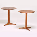 Kersten horlinholmquist nordiska kompaniets verk pair of apple occasional tables sweden 1958 teak metal label 21 x 19 dia