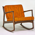 Selig rocking chair denmark 1960s stained beech upholstery metal label 26 12 x 30 12 x 33