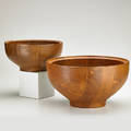 Henning koppel georg jensen two turned wood bowls denmark 1960s teak both with branded signature and manufacturers mark larger 8 x 14 34