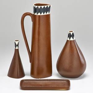 Stig lindberg 1916  1982 gustavsberg four piece set pitcher tray and two bud vases sweden 1960s glazed stoneware all marked pitcher 10 12 x 4 dia