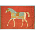 Hermes equestrian banner likely a display piece paris 1960s block printed canvas 36 x 55 12