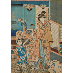 Japanese block prints four depicting various scenes of labor late 19th c all framed all marked largest 14 x 9 34