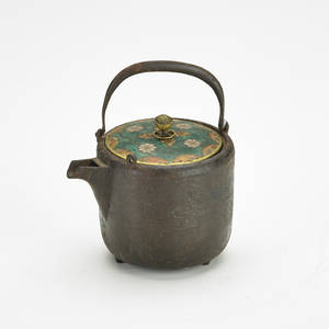 Japanese teapot iron with cloisonne lid 18th c unmarked 4 x 4 dia provenance private collection connecticut acquired from the collection of allen hendershott eaton