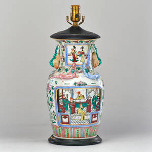 Chinese famille rose porcelain vase with relief lizards mounted as a lamp 20th c unmarked 19 x 7 dia