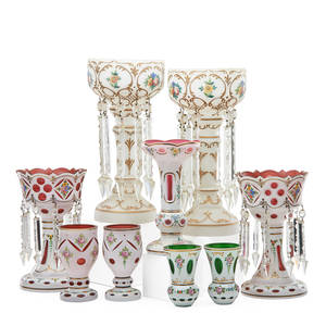 Bohemian overlay glass nine items early 20th c two pair of lusters two pair of vases and single vase tallest 15