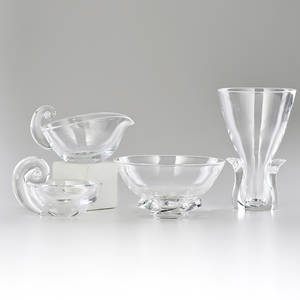 Steuben four glass pieces vase bowl sugar and creamer corning ny 1960s all marked tallest 8 x 5 dia