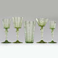 Frederick carder steuben fortytwo piece spanish green stemware set partial service water goblets 11 champagne saucers 11 highball glasses 8 cordials 8 sherrys 4 corning ny 1920