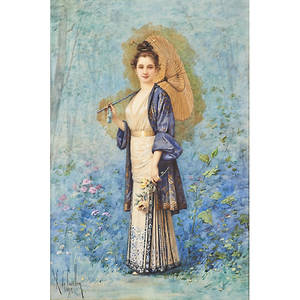 Louis robert de cuvillon french 18481931 watercolor on paper portrait of woman with parasol 1892 framed signed and dated 16 14 x 10 34