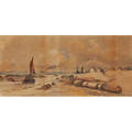 Nathan roswell gifford american 19th c watercolor on paper of fishing boats 1890 framed signed and dated 10 12 x 22 12 sight