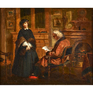 Thomas prichard rossiter american 18181871 oil on canvas of interior with woman and gentleman 1863 framed signed and dated 17 x 20
