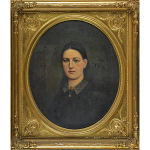 American portrait 19th c oil on canvas of woman oval gilt frame 30 x 25