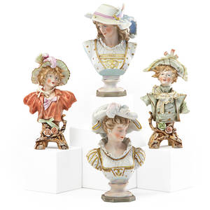 Continental porcelain busts four of young women 20th c tallest 9