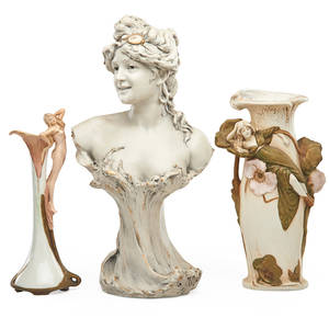 Austrian porcelain two vases with maidens and a bust of a young woman early 20th c all marked tallest 18 12