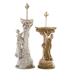 Royal dux pottery lamps two each with maiden beside a tree  germany early 20th c marked taller 28