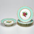 French handpainted porcelain dessert set in fruit motif footed compote plate 6 early 20th c unmarked compote 2 x 8 34 dia