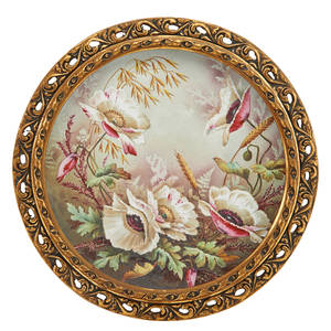 French porcelain charger decorated with floral study early 20th c framed 13 dia