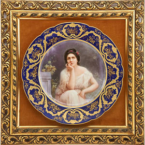 Vienna style gilt decorated porcelain cabinet plate depicting a seated maiden cobalt border late 19th c signed soustre 9 12 dia
