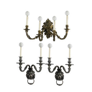 Three gilded sconces pair of 2light and one 4light all with lion masks electrified 20th c largest 9 x 20 x 9