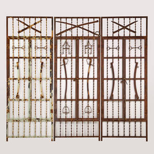 Architectural salvage three large functional window gates decorated with antique swords scabbards stirrups and bits 20th c wrought iron unmarked each 106 x 39 12